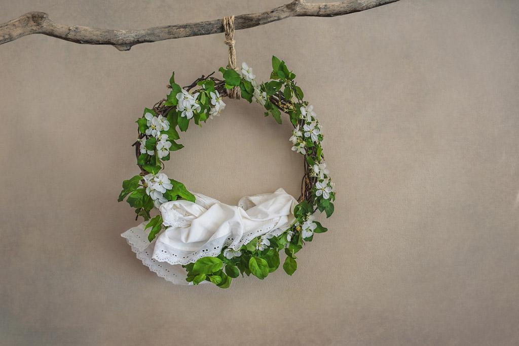 Newborn digital backdrop. Fresh flowers. Wreath woven of flowering apple tree branches. Instant