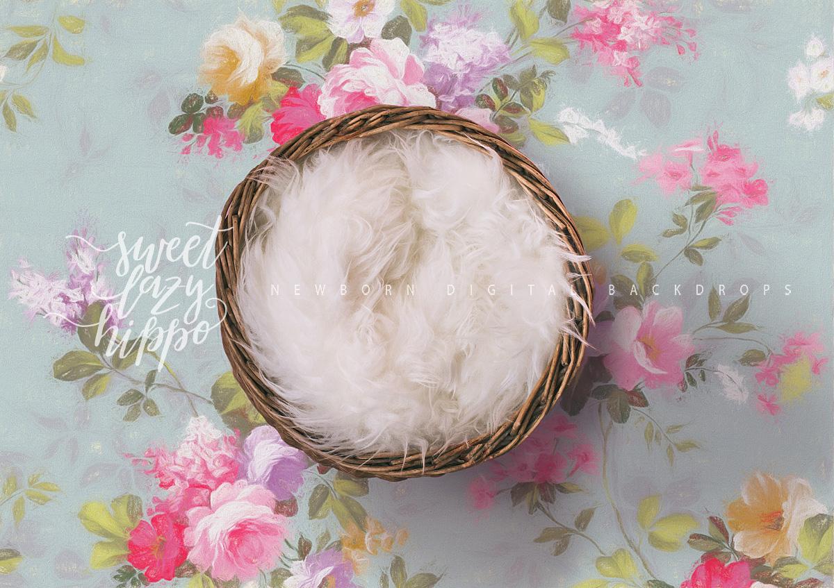 Newborn Digital Backdrop Newborn Basket On Pastel Floral