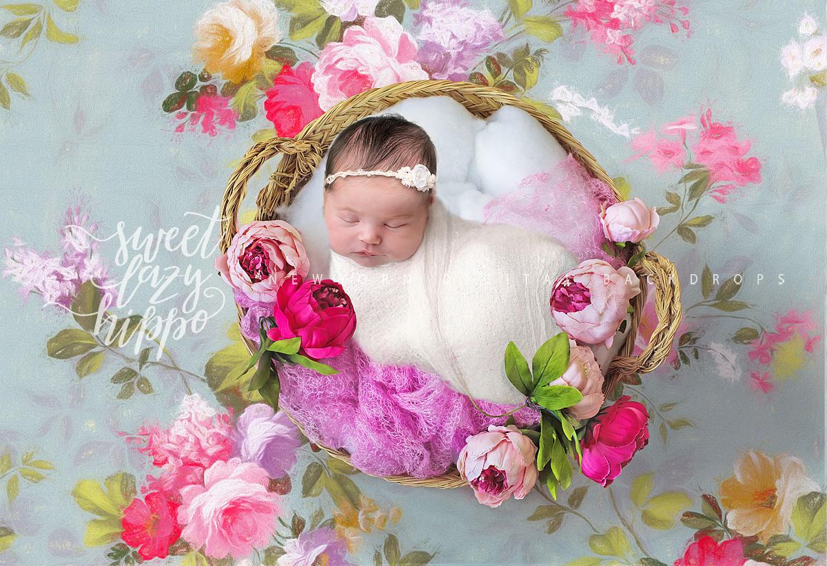 Newborn Digital Backdrop Newborn Basket With Flowers On Pastel