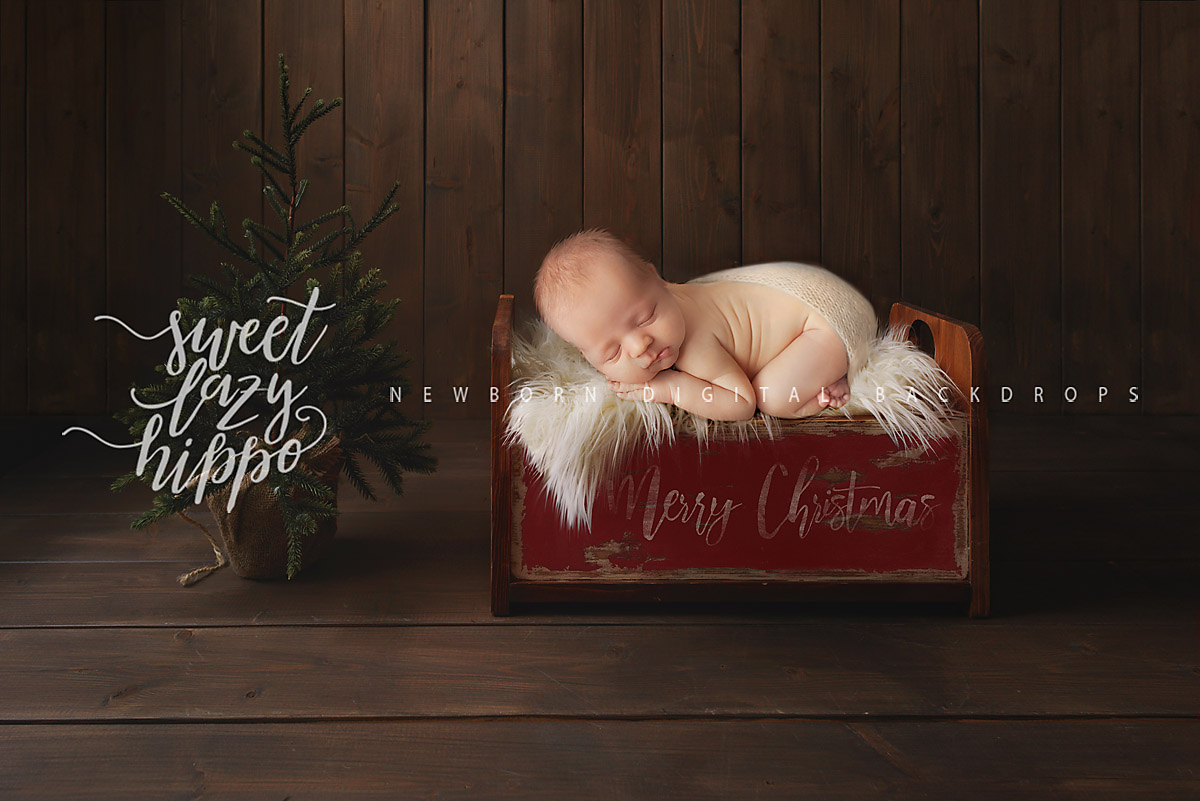 Newborn Christmas Pictures.Christmas Digital Backdrop Newborn Christmas Background Vintage Newborn Bed And Christmas Tree Instant Download